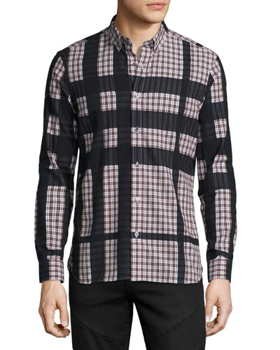 Haybury Long-Sleeve Check Shirt, Burgundy Red