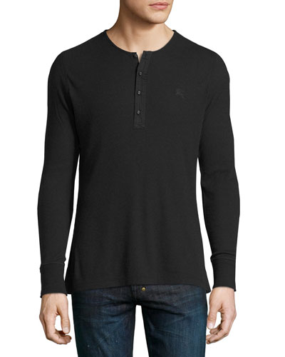 Cliffton Ribbed-Knit Henley T-Shirt, Black