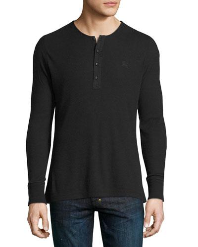 Cliffton Ribbed-Knit Henley T-Shirt, Black