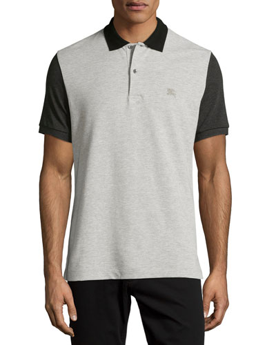Gravehurst Colorblock Piqué Polo Shirt, Gray