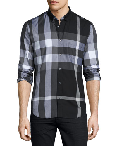 Exploded Check Sport Shirt, Black