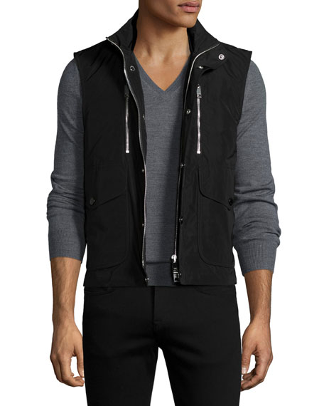 Burberry Moto Front-Zip Vest, Black