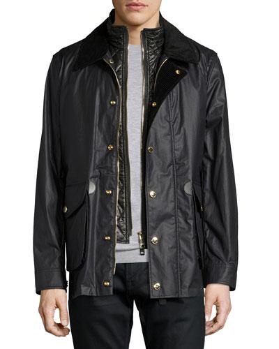 Waxed Cotton-Linen Jacket w/Detachable Warmer