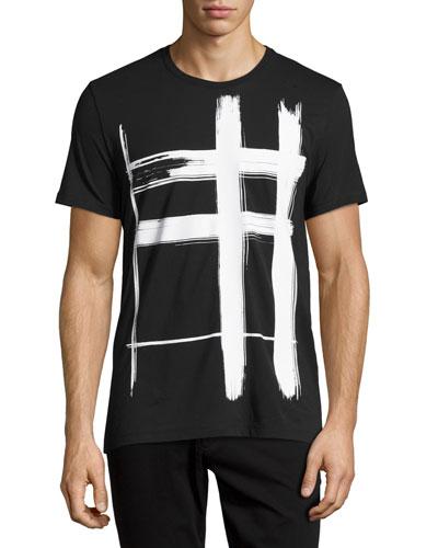 Lanesbury Brushstroke Check Short-Sleeve T-Shirt, Black