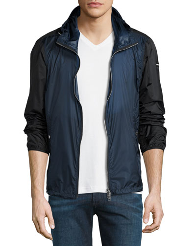 Lightweight Bicolor Wind-Resistant Jacket, Bright Steel Blue