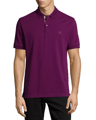 Check-Placket Piqué Polo Shirt, Amethyst
