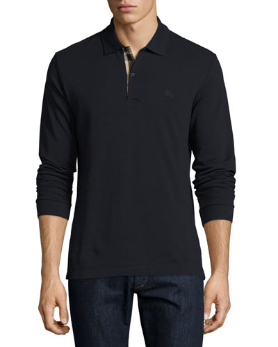 Long-Sleeve Oxford Polo Shirt, Navy