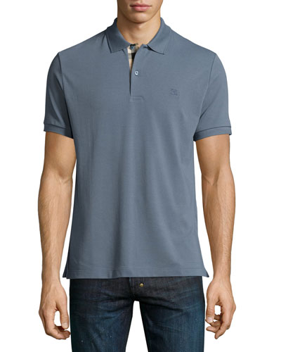 Check-Placket Piqué Polo Shirt, Stone Blue