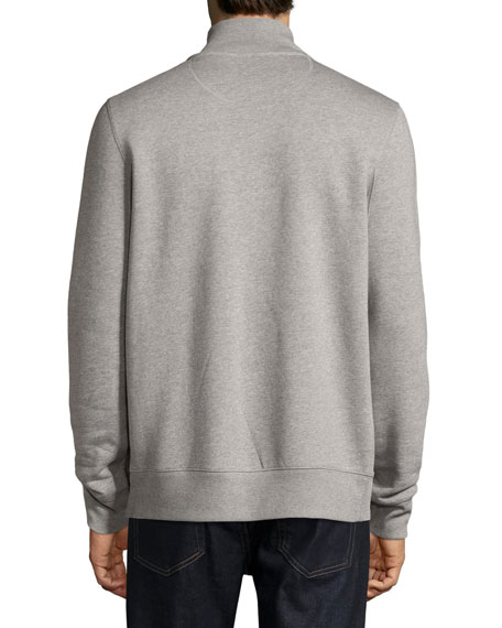 Sheltone Front-Zip Sweatshirt, Pale Gray Melange