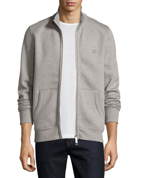 Burberry Sheltone Front-Zip Sweatshirt, Pale Gray Melange
