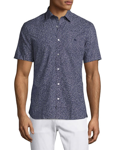 Micro-Dot Short-Sleeve Shirt, Navy