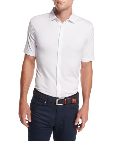 Peter Millar Collection Perfect Piqu?? Short-Sleeve Shirt, White