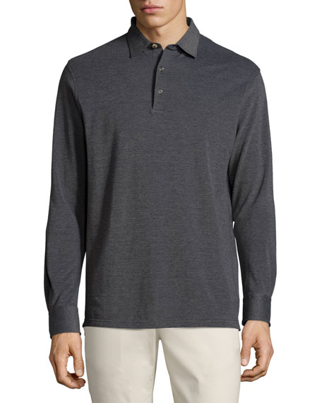Peter Millar Oxford Long-Sleeve Polo Shirt, Starlight Blue