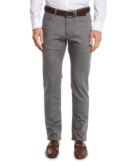 Peter Millar Chrome-Wash Denim Jeans, Argento