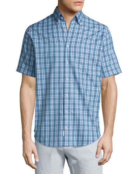 Peter Millar Plaid Short-Sleeve Sport Shirt, Blue