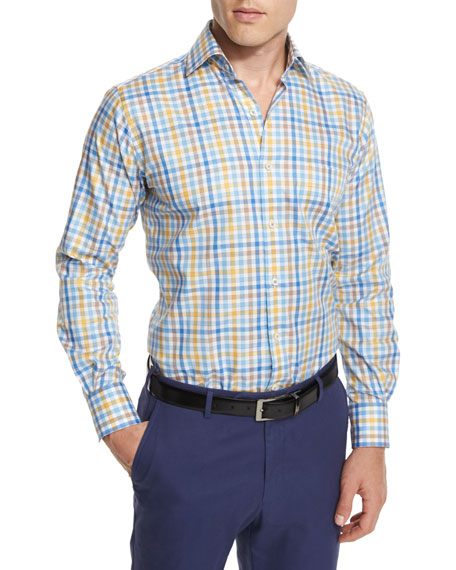 Peter Millar Melange Check Long-Sleeve Sport Shirt