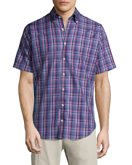 Peter Millar Plaid Short-Sleeve Sport Shirt, Navy/Red