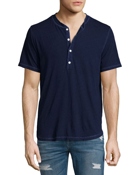 7 For All Mankind Short-Sleeve Henley T-Shirt, Indigo