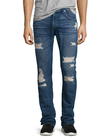 7 For All Mankind Paxtyn Distressed Denim Jeans,