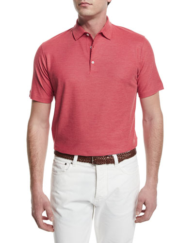 Gran Short-Sleeve Pique Polo Shirt, Red