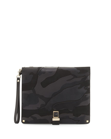 Valentino Camouflage Leather Clutch Bag, Black/Green