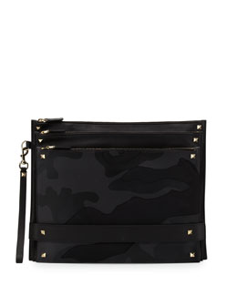 Rockstud-Trim Leather Camouflage Pouch Bag, Black/Green