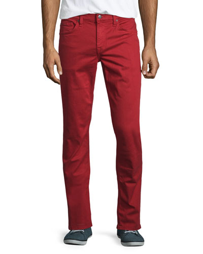 Neutral Slim-Fit Twill Pants, Red