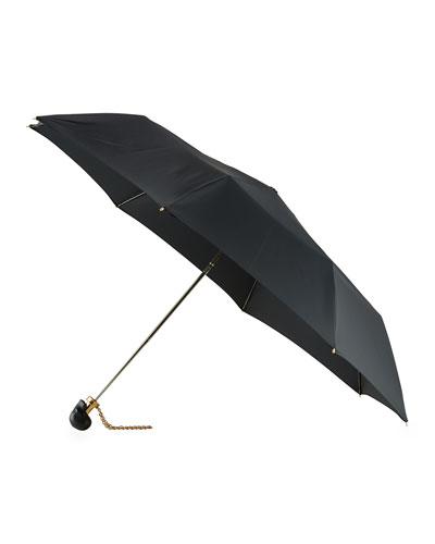 Leather-Skull Umbrella w/Golden Hardware, Black
