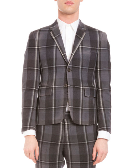 Distressed Plaid Two-Button Wool Jacket, Medium Gray