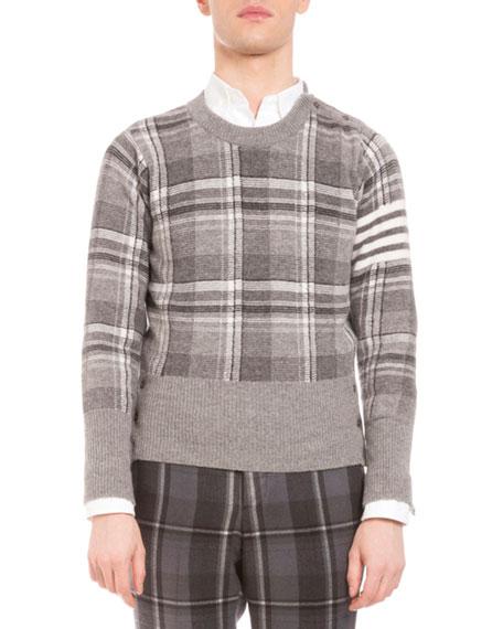 Thom Browne Plaid Intarsia Wool Sweater, Medium Gray