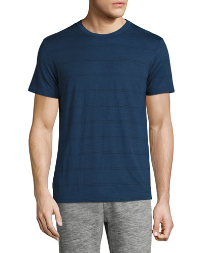 Gaskell Striped Crewneck T-Shirt, Cy Blue