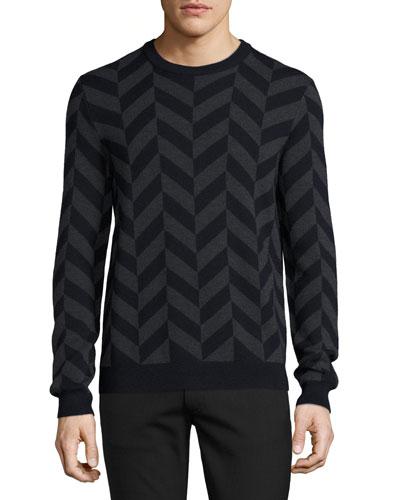 Herrigs Chevron Crewneck Sweater, Eclipse