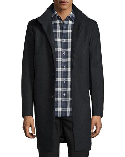 Belvin Wool-Blend Car Coat, Dark Charcoal