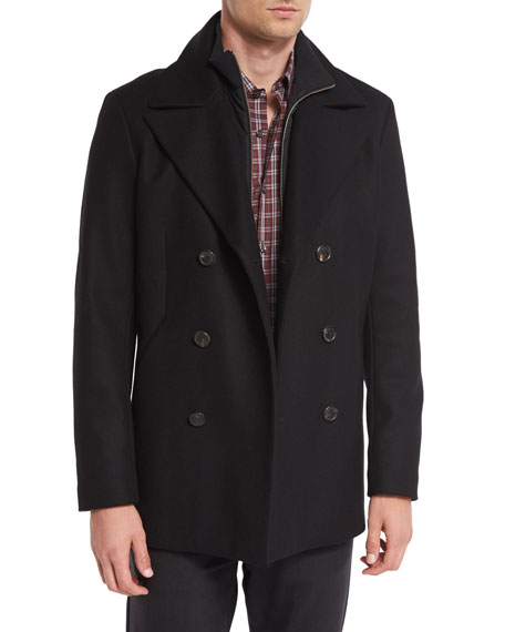 Theory Mercer Double-Breasted Pea Coat, Black