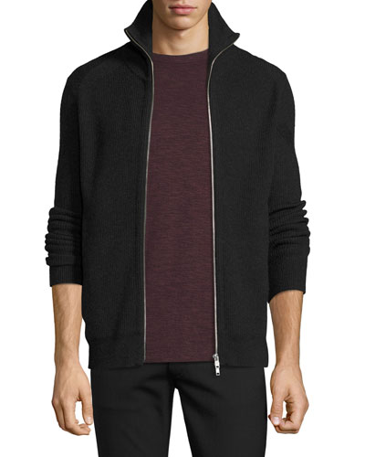 Ronzons Merino Full-Zip Sweater, Night