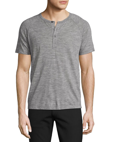 Theory Adrik Wool Jersey Short-Sleeve Henley, Concrete Heather
