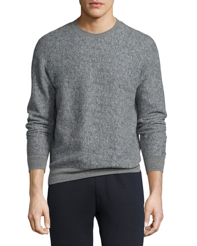Danen Heathered-Knit Sweatshirt, Gray Heather