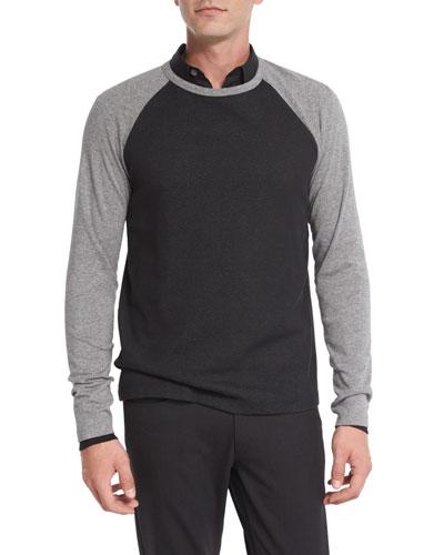 Colorblock Thermal Baseball T-Shirt, Black