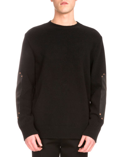 Leather-Patch Studded Crewneck Sweater, Black