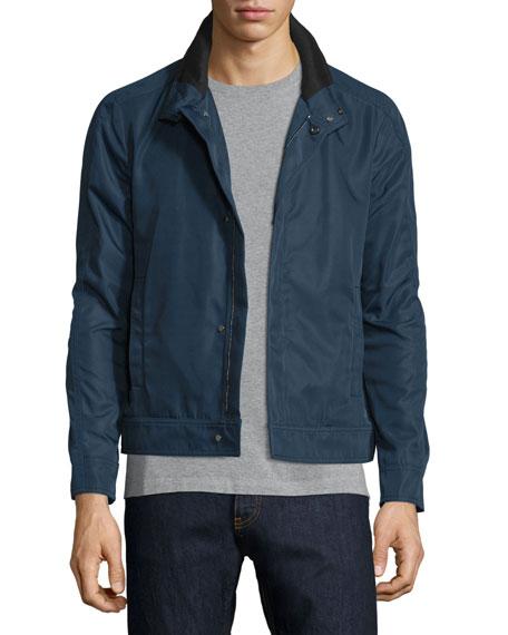 Valentino Zip-Front Nylon Coat, Navy