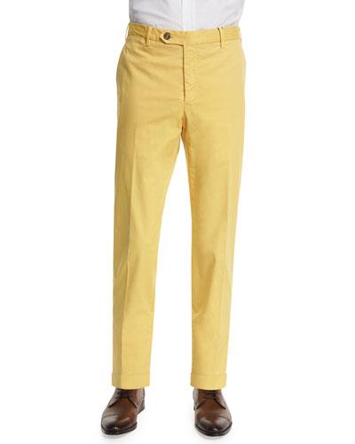 Parker Cotton-Stretch Pants, Yellow