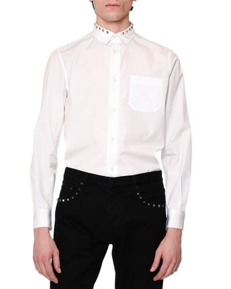Rockstud-Collar Long-Sleeve Sport Shirt, White