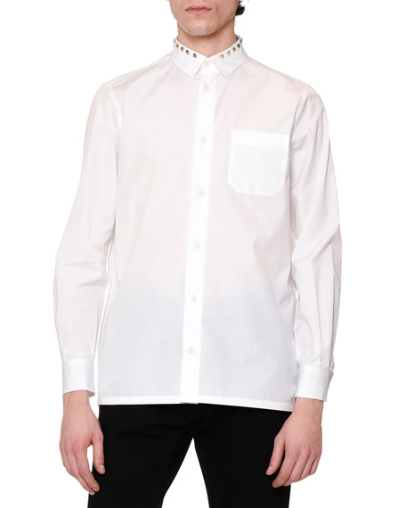 Valentino Rockstud-Collar Long-Sleeve Sport Shirt, White