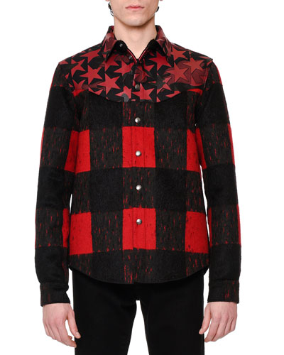 Buffalo Check Shirt w/Camo-Star Leather Yoke, Black/Red