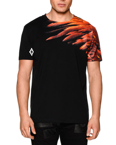 Feather-Print Short-Sleeve Graphic Tee, Black Multi