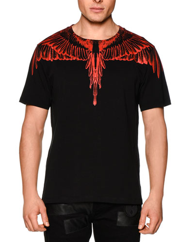 Feather-Print Short-Sleeve Tee, Black/Red