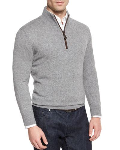 Nano-Cashmere 1/4-Zip Pullover, Gray