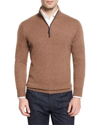 Nano-Cashmere 1/4-Zip Pullover, Barley