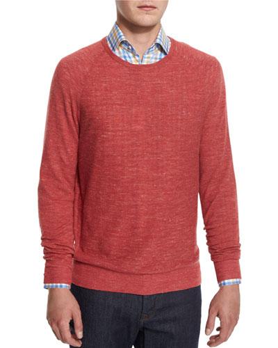 Wool-Linen Athletic Sweater, Denim