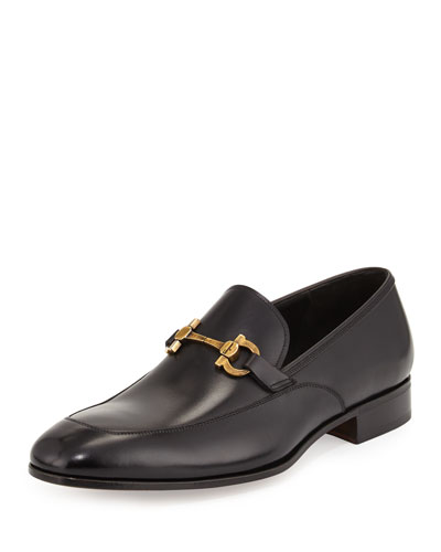 Geremy Antiqued Brass Gancini Bit Calfskin Loafer, Black